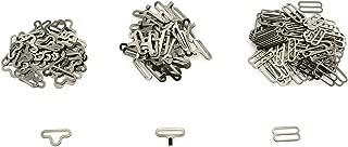 PSCCO 50 Set Metal Cravat Clip Hook Fastener Set DIY Strap Buckle Hardware Accessories Adjustable Bow Tie Necktie Clip 19mm Black