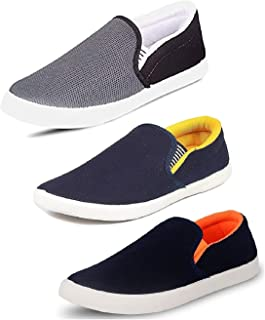 Tempo Men's Multicolor 3 Combo Pack of Synthetic Leathers Loafers Shoes(SLVR-6 BLK/SLV Yellow/SLV ORN)