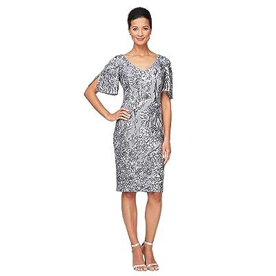 Alex Evenings Short V Neckline Sheath Dress with Cold-Shoulder Flutter Sleeves Women