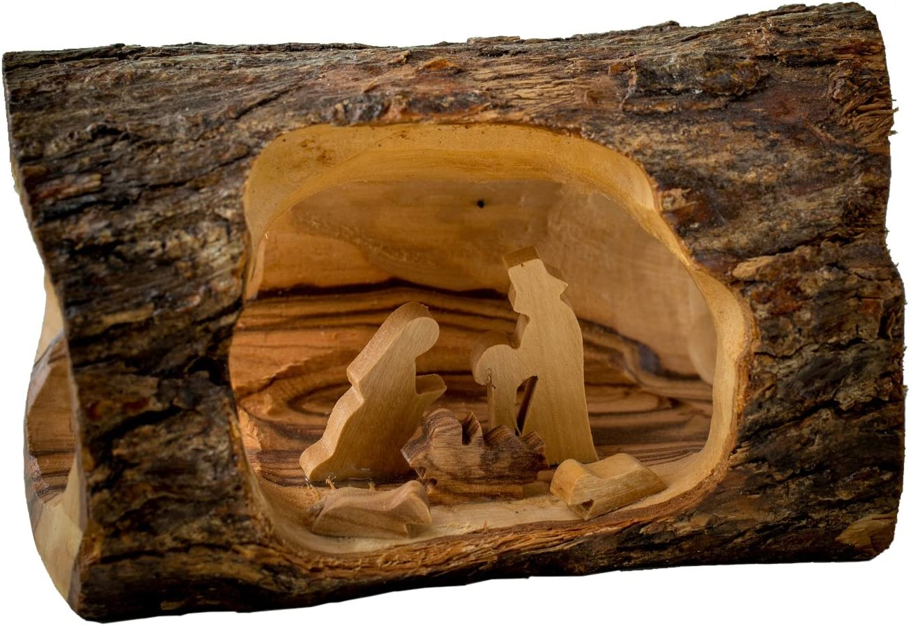 EARTHWOOD FINE WOOD PRODUCTS All items free shipping E-05sb Special price for a limited time Olive Smal Log Wood Nativity