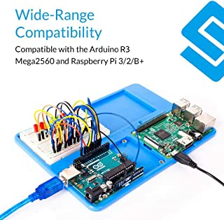 SunFounder RAB Holder for Arduino Raspberry Pi Breadboard Holder 5 in 1 Base Plate with Rubber Feet for Arduino R3 Mega 2560, Raspberry Pi 3B+ 3B 2 Model B 1 Model B and 400 800 Points Breadboard