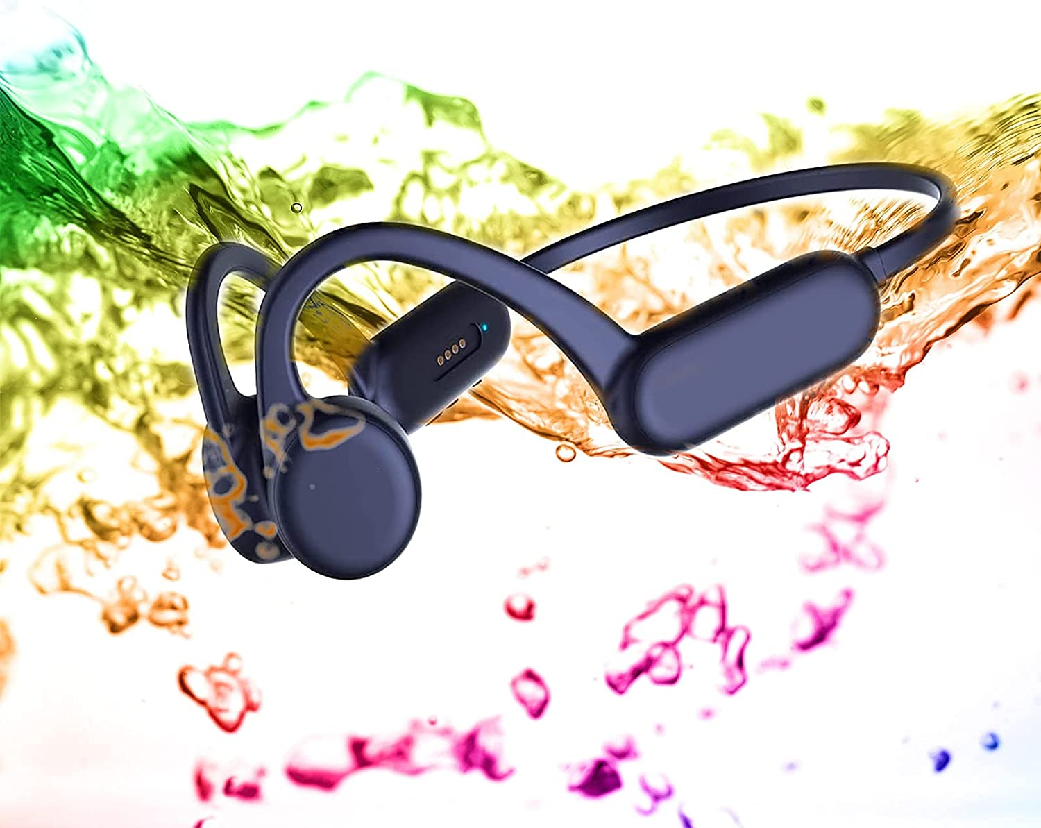Bone Conduction Headphones Wireless Bluetooth Open Ear Swimming IPX8 Waterproof with Microphone Workout Running Sport Gym for Android & iOS