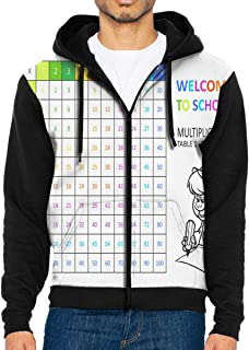 Men Hoodie Vintage Multiplication Table Customized Full Zip with Pocket Jackets Lightweight Party