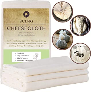 Cheesecloth, Grade 90, 45 Sq Feet, Reusable, 100% Unbleached Cotton Fabric, Ultra Fine Cheesecloth for Cooking - Nut Milk Bag, Strainer, Filter (Grade 90-5Yards)