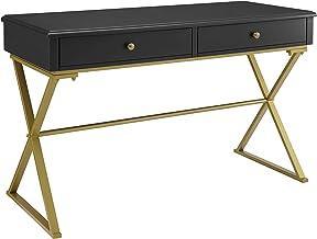 Linon Home Decor Products Harli Two-Drawer Campaign, Black Desk
