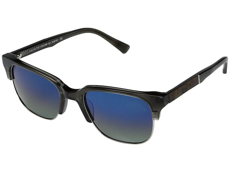 Shwood Newport Acetate Wood Polarized (Charcoal/Elm Burl/Blue Flash Polarized) Polarized Sport Sunglasses