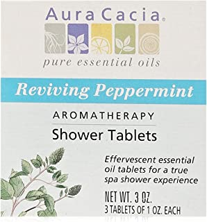 Aura Cacia Aromatherapy Shower Tablets, Reviving Peppermint,  3 ounce (Pack of 3)