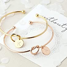 OUOK Bridesmaid Gift Initial Letter Bracelet Bride to be Bridal Shower Wedding Favors and Gifts for Guests Party Favor Souvenir,U,Gold Color