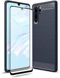 Olixar Sentinel 华为 P30 Pro 保护套,带屏幕保护膜,外壳兼容钢化玻璃 - [硬质手机壳] 前后保护 - Sentinel - 适用于 P30 Pro - 蓝色