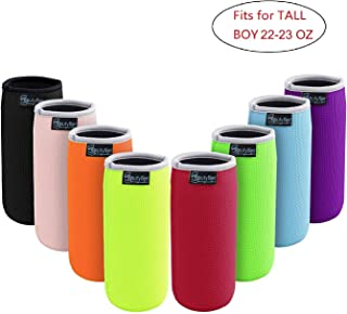 Beautyflier Pack of 8 Anti-Slip Embossed Neoprene Bottle Insulator Sleeve Thick Collapsible Glass Water Bottle Cover for BBQ Camping Party