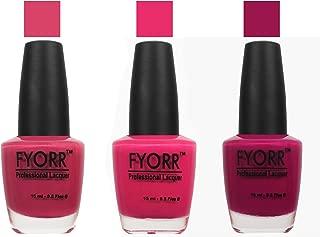 FYORR Hot Pink Collection Nail Polish - Set of 3 (15 Ml Each)