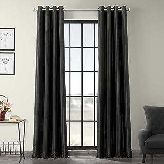 HPD Half Price Drapes PTCH-BO41-84-GR Grommet Blackout Faux Silk Taffeta Curtain (1 Panel), 50 X 84, Black