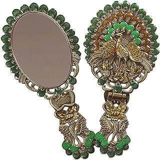 AINIYF Mirror Creative Gift Makeup Mirror Handle Imitation Bronze Dresser Mirror Folding Portable Princess Mirror (Size : 22x10cm)