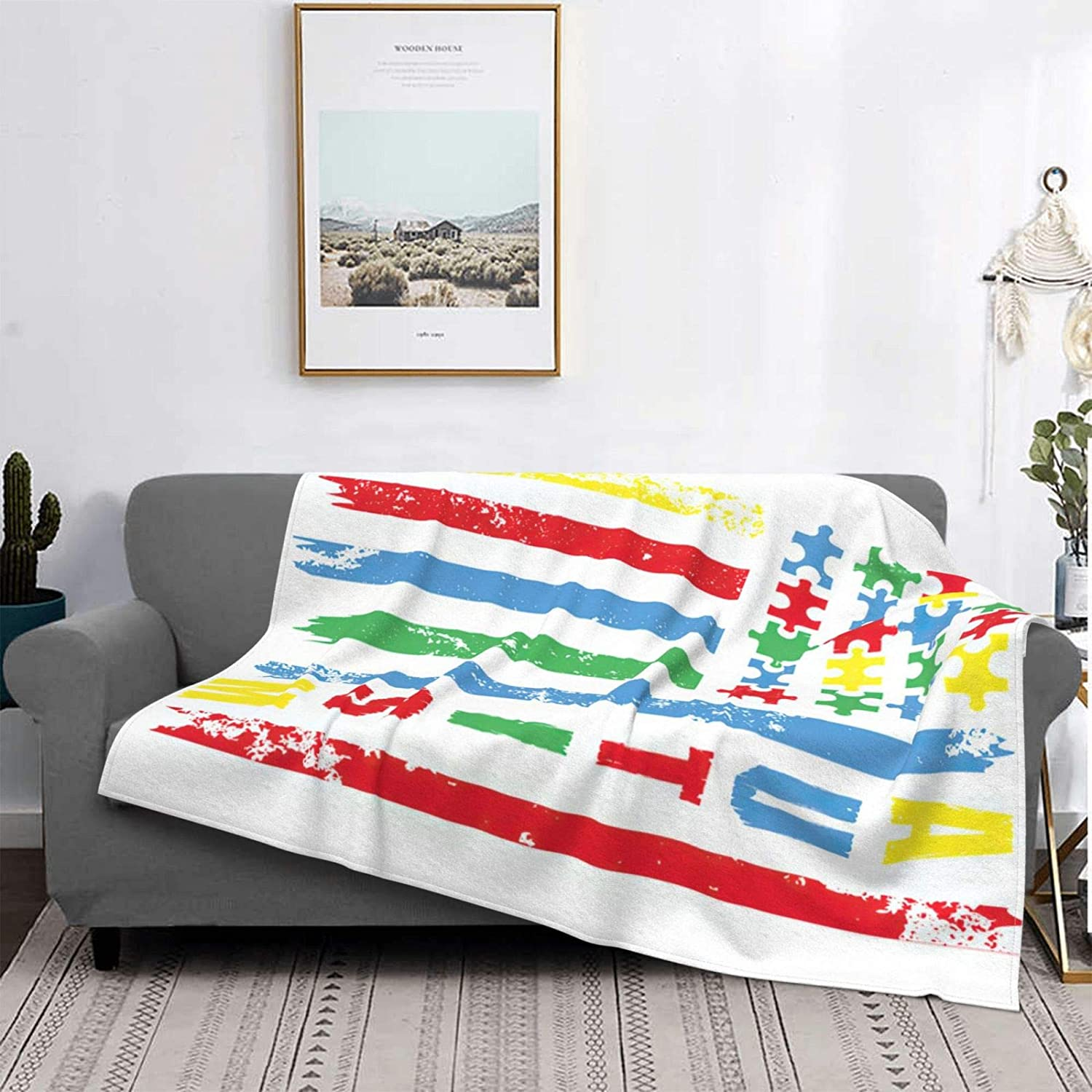 US Flag Autism Awareness Ultra-Soft Spring new work one after another Flanne Fleece Blanket Price reduction Micro