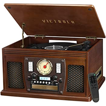 Victrola VTA-600B-ESP Navigator 8-In-1 Classic Bluetooth Record Player with USB Encoding and 3-Speed Turntable, Brown (Espresso)