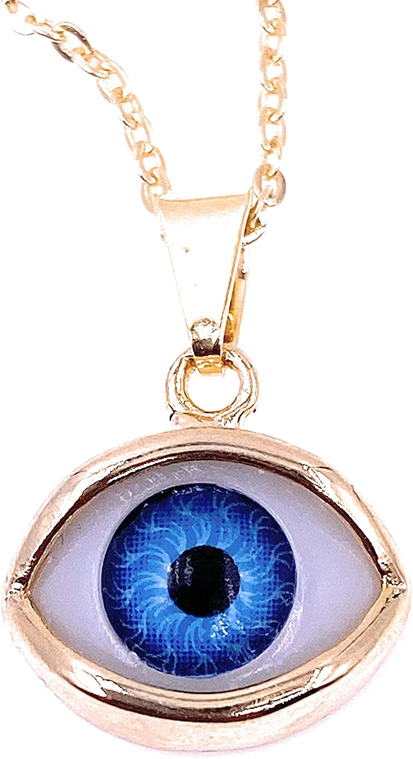 Beautiful Blue Evil Eye Gold Pendant Necklace for Women 18K Gold Plated Chain Protection Jewelry