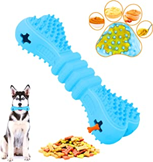 SIKROFEGEN Dog Chew Toy, Durable Natural Rubber Beef Teeth Cleaning Tough Dog Bone for All Aggressive Chewe...
