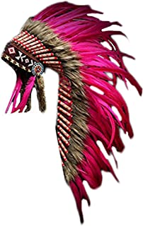 Y04 Medium Pink Rooster Feather Headdress | Native American Indian Inspired.