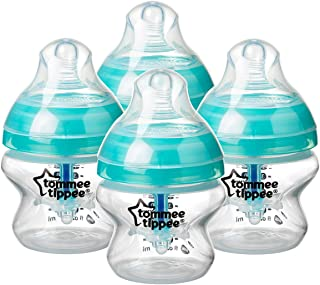 Tommee Tippee Advanced Anti-Colic Baby Bottle, Slow Flow Breast-like Nipple, Heat-Sensing Technology, BPA-Free - Clear - 5...