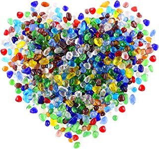 Hilitchi Glass Stones Non-Toxic Beautiful Smooth Vibrant Colors Vase Filler, Table Scatter, Aquarium Fillers, Gems Displaying, Gem Glass Confetti [Rainbow Stones Aprox. 1lb(455g)/Bag]