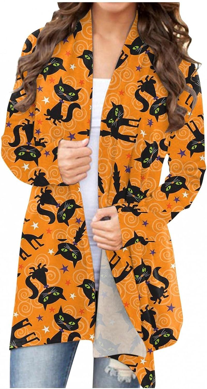 Sweaters for Women Open Front Cardigans Long Sleeve Halloween Cardigan Funny Pumpkin Black Cat Ghost Lightweight Coat