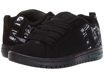 DC Kids Court Graffik SE Glow (Little Kid/Big Kid) (Black/Grey/White) Kids Shoes