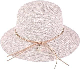 a3b0ce23e8d0e0 Sanyouletoo Hut Sommer Damen Perlen Schmetterlingsknoten Großer Strohhut  Strand Faltender Sonnenschatten Sonnenhut Hut aus Stroh Strohhut