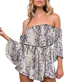 2e5705aad540 Sunmoot Off Shoulder Romper for Womens Sexy Snake Skin Print Flare Sleeve  Short Playsuits Jumpsuits