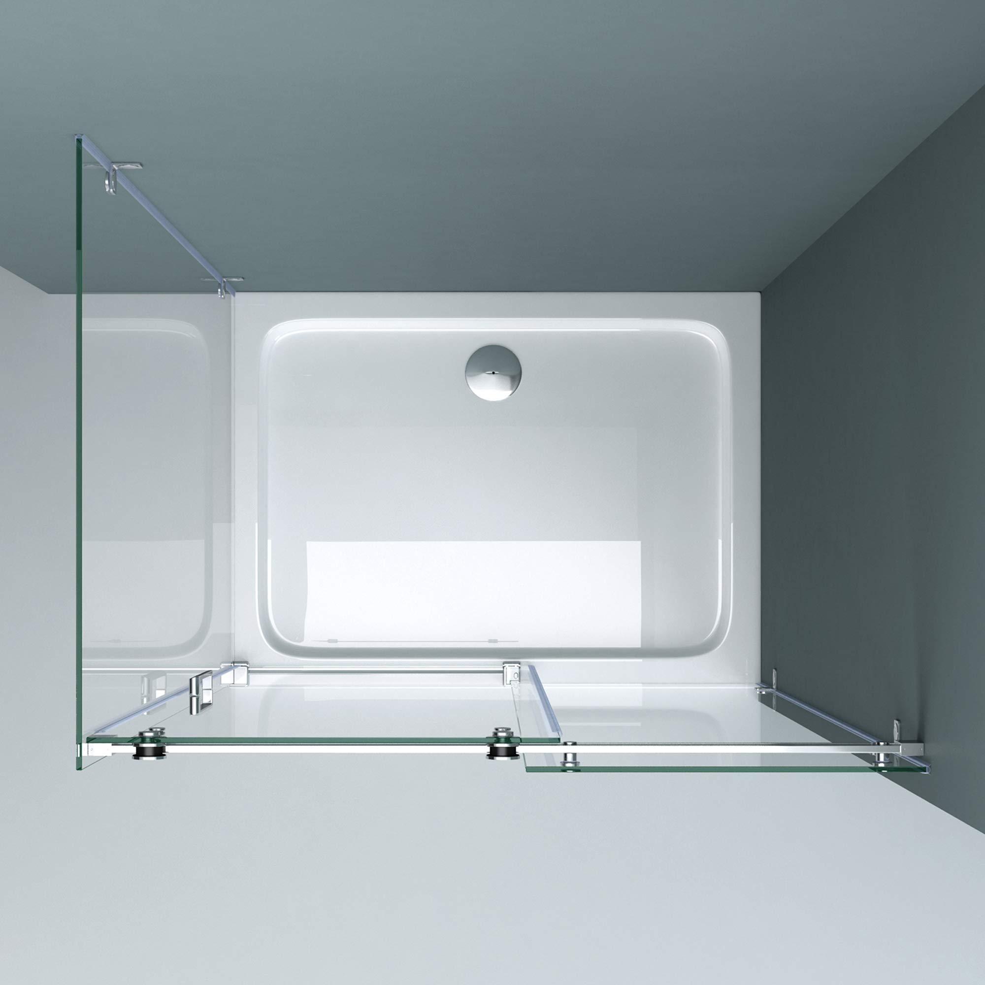 doporro Cabina de ducha esquinera Rav17-2 80x115x195cm mampara con puerta corredera de vidrio transparente | con 4 puntos de fijación: Amazon.es: Bricolaje y herramientas