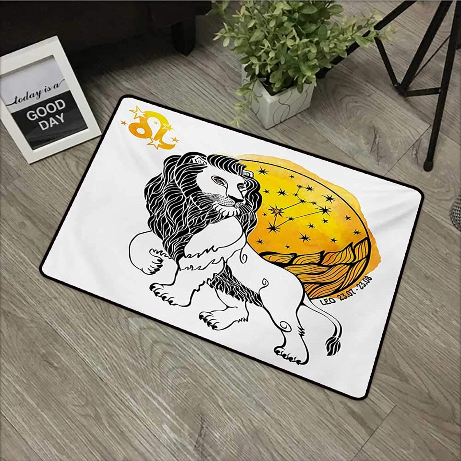 Hall mat W35 x L59 INCH Zodiac,Royal Leader of Zodiac Sign Leo Symbol with Giant Sun and Stars Birth Fortune Image,Multicolor Easy to Clean, no Deformation, no Fading Non-Slip Door Mat Carpet