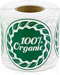 """100% Organic Food Farm Farmer's Market Fruit Stand Hobby Farm 2"""" Round Labels Stickers (Green / 300 Labels per roll / 1 Ro..."""