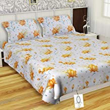 IVAZA New Beautifull 3D Printed Polycotton Double bedsheet with 2 Pillow Cover Yellow Leaf