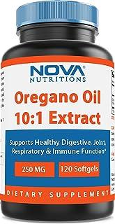 Nova Nutritions Oregano Oil 250 mg 10:1 Extract - Non-GMO & Gluten Free - Oil of Oregano Pills - Immune Support - 120 Softgels