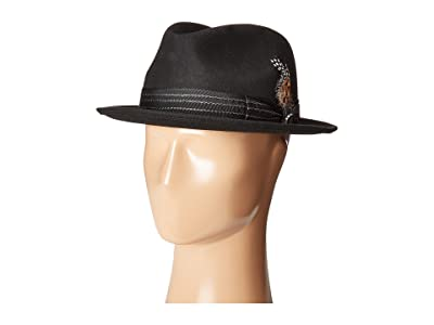Stacy Adams Pinched Fedora with Stitched Band (Black) Fedora Hats