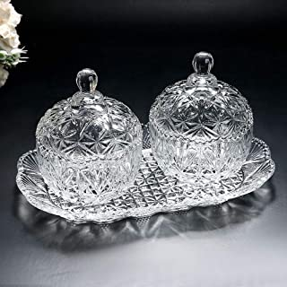 Glass candy jar three-piece set 8 ounce sugar bowl set and tray/decorative candy dish (1, 2)