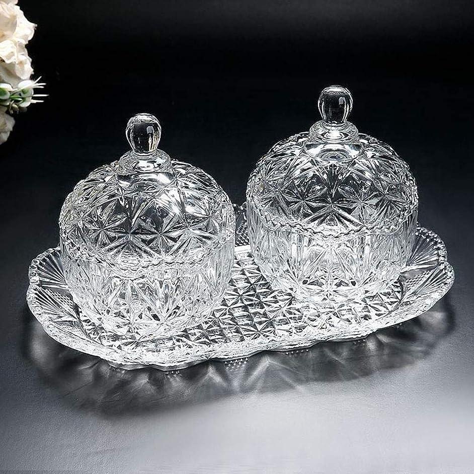 Glass candy jar three-piece set 8 ounce sugar bowl set and tray/decorative candy dish (1, 2)