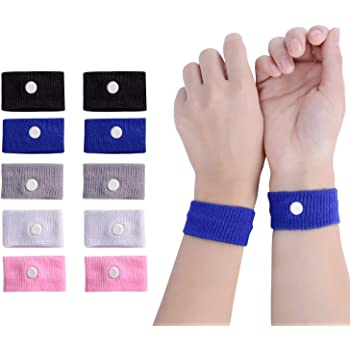 LYJEE 5 Pairs Motion Sickness Nausea Relief Wristbands for Sea Car Flying Pregnant Travel Sickness Bracelet