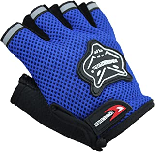 Half Finger Cycling Gloves Outdoor Adjustable Sport Bicycle Gloves Gel Padded Mountain Road Bike Riding Gloves Shock-Absorbing Breathable Anti Slip Mitten for Kids MTB Exercise Skate Skateboard