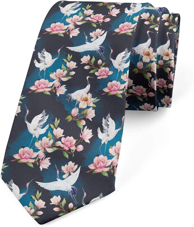 Ambesonne Men's Tie, Cranes and Pinky Magnolia, Necktie, 3.7