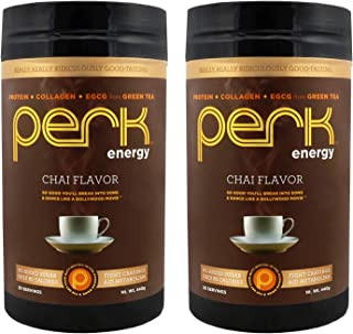 Perk Energy - Chai Flavored Beverage Mix with Zero added Sugar - Provides a Boost in Energy and is Packed with Protein, Collagen, and EGCG from Green Tea. 2 Pack.