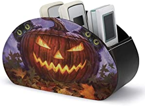 Caddy à distance en cuir - Boîte de rangement pour support de télécommande TV avec 5 compartiments - Chats en cuir PU Hall...