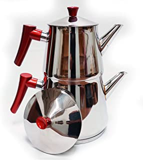 Lines Stainless Steel Teapot Set, Family Size Pyramid Model Steel Tea Pot with Strainer, 4 Pieces (Red)