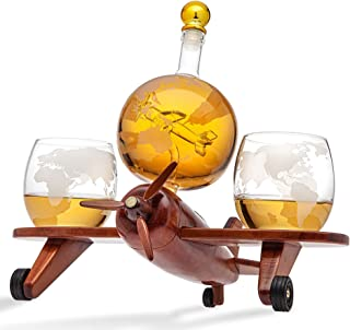 Godinger Whisky Dekanter Flugzeug Globe Set mit 2 World Whisky Gläsern – für Likör Scotch Bourbon Wodka