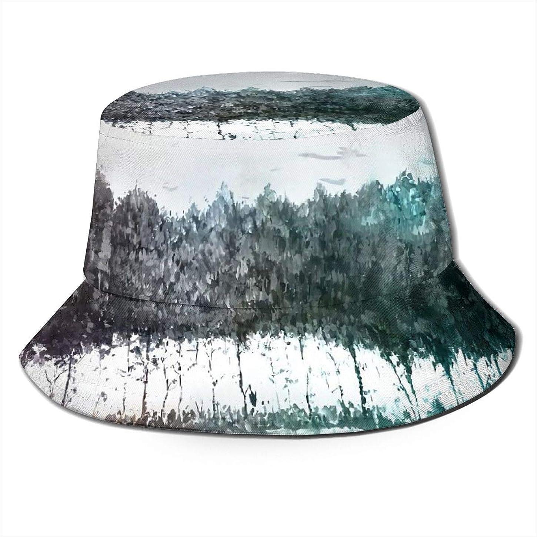 パケット姓支配的Aiwnin 湖畔 カラフルな木 漁師の帽子 サンハット 日よけ帽 紫外線保護 釣り 登山 農作業 通気性がいい