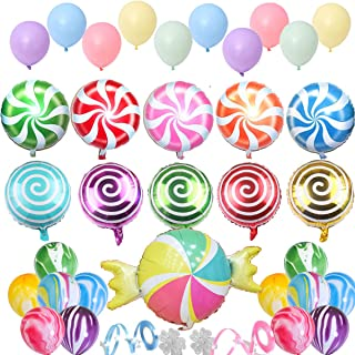 Candyland Party Supplies - Candyland Party Decorations 34 Candyland Balloons Pack with 2 Clips and Ribbon