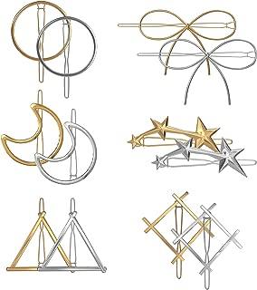 12 件几何发夹极简主义精致金银空金属发针夹月亮三角圆蝴蝶矩形五角五芒星发夹 适合女士厚发型