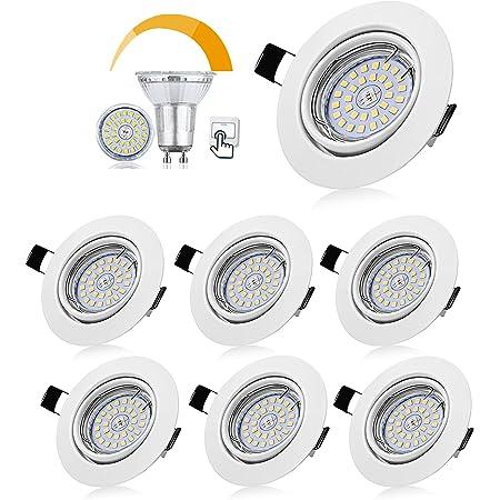 Bojim Lot de 6 Spots LED Encastrables Orientables Dimmables, Luminaires Encastrés GU10 Blanc Neutre 4500K 6W Eqv.54W Lumière Blanc du jour 600LM 82Ra IP20 230V Blanc Matt Plafonnier Cuisine Chambre