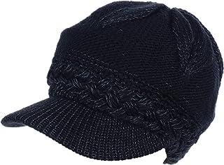 an Beanie Beret Cap Visor Metallic Wool Chenille Plush Lined Elastic Back