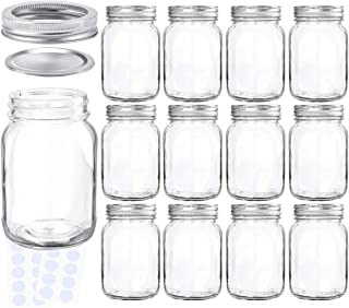 KAMOTA Mason Jars 18OZ With Regular Lids and Bands, Ideal for Jam, Honey, Wedding Favors, Shower Favors, Baby Foods, DIY Magnetic Spice Jars, 12 PACK, 20 Whiteboard Labels Included