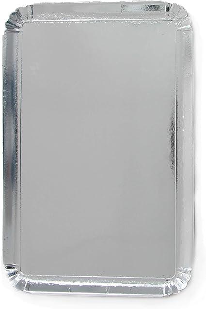 bandejas de presentaci/ón para pasteler/ía o Buffet fr/ío Extiff Dorado Juego de 25 bandejas de cart/ón Plateado de 28 x 42 cm